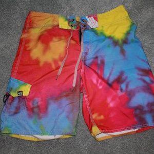 Billabong Rainbow Size 31 Tie Dye Swim Trunks